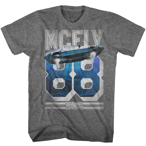 Back To The Future-Mcfly 88-Graphite Heather Adult S/S Tshirt