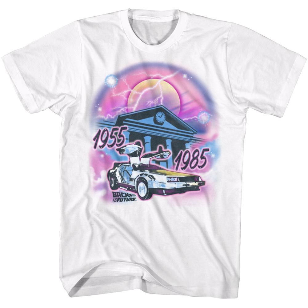 Back To The Future-Airbrush-White Adult S/S Tshirt