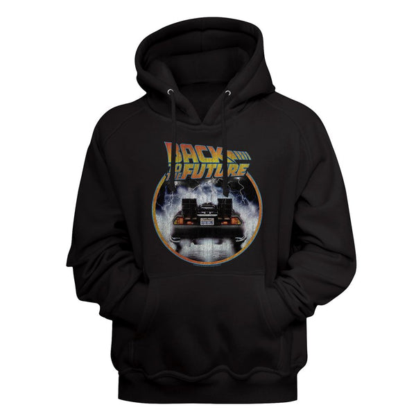 Back To The Future-Back To The Back-Black Adult L/S Sweatshirt Pullover Hoodie