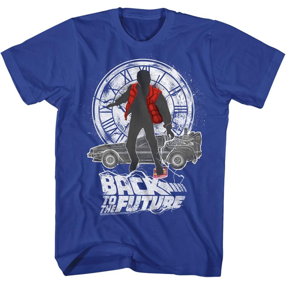 Back To The Future-Silhouette Collage-Royal Adult S/S Tshirt