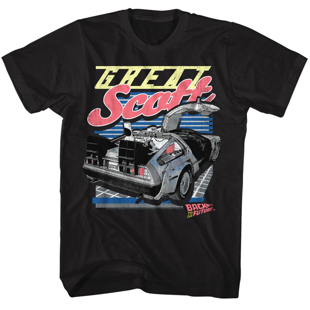 Back To The Future-Great Scott-Black Adult S/S Tshirt