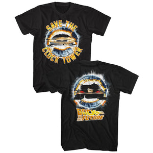 Back To The Future-Clocktower-Black Adult S/S Front-Back Print Tshirt