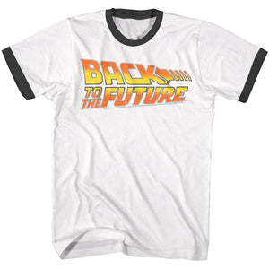 Back To The Future-Worn Logo-White/Black Adult S/S Ringer Tshirt