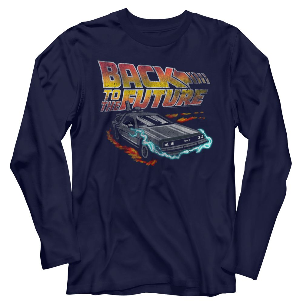 Back To The Future-Future-Navy Adult L/S Tshirt