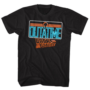 Back To The Future-Neon-Black Adult S/S Tshirt