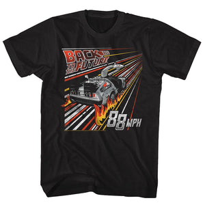 Back To The Future-Streak To The Future-Black Adult S/S Tshirt