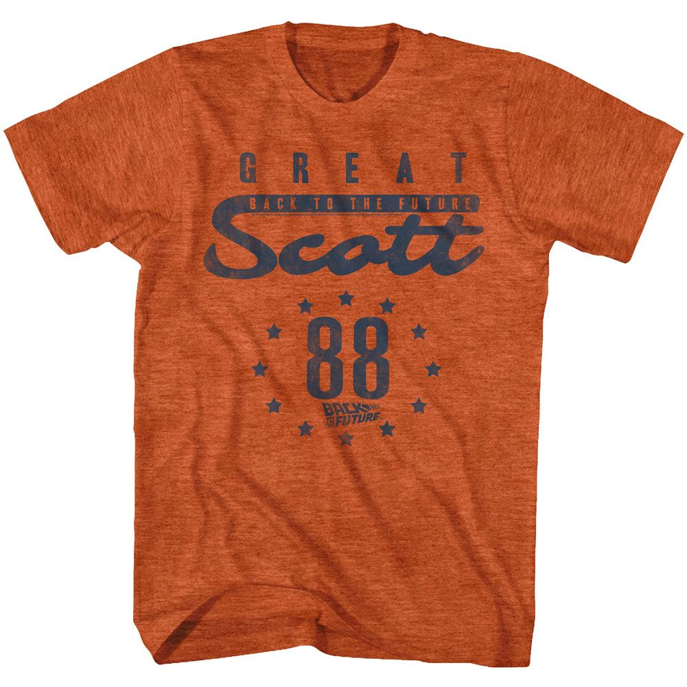 Back To The Future-Scott 88-Antique Orange Heather Adult S/S Tshirt