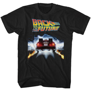 Back To The Future-Tail Lights-Black Adult S/S Tshirt