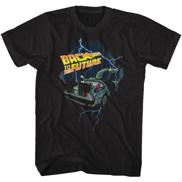 Back To The Future-Lightning Car-Black Adult S/S Tshirt