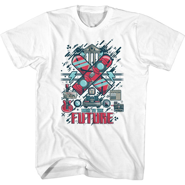 Back To The Future-Collage-White Adult S/S Tshirt