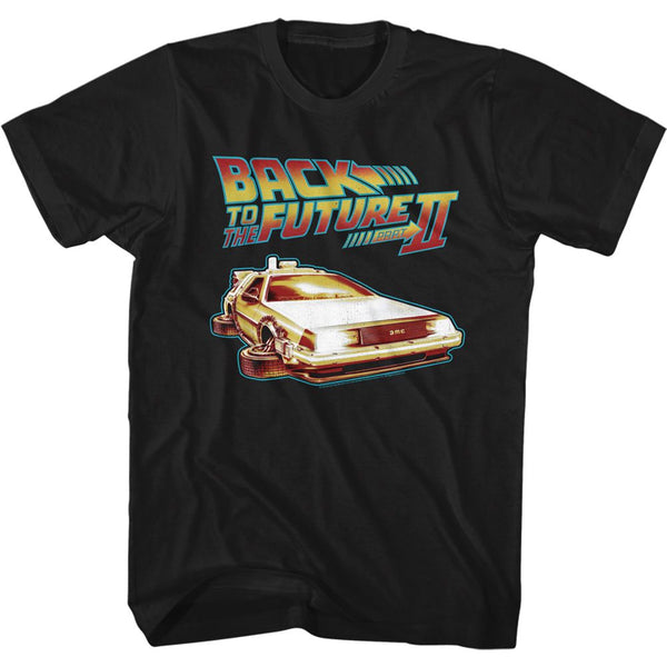 Back To The Future-Carwithflatwheels-Black Adult S/S Tshirt - Coastline Mall