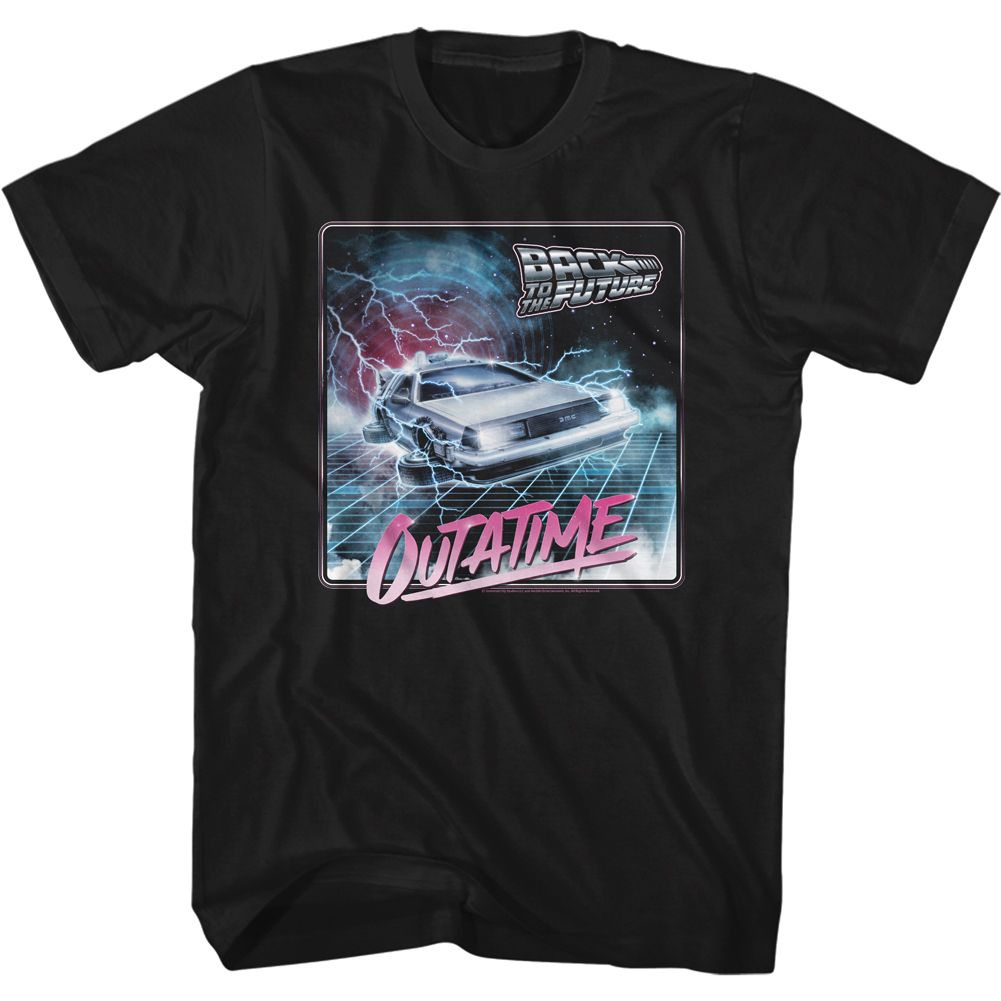 Back To The Future-Outatime-Black Adult S/S Tshirt