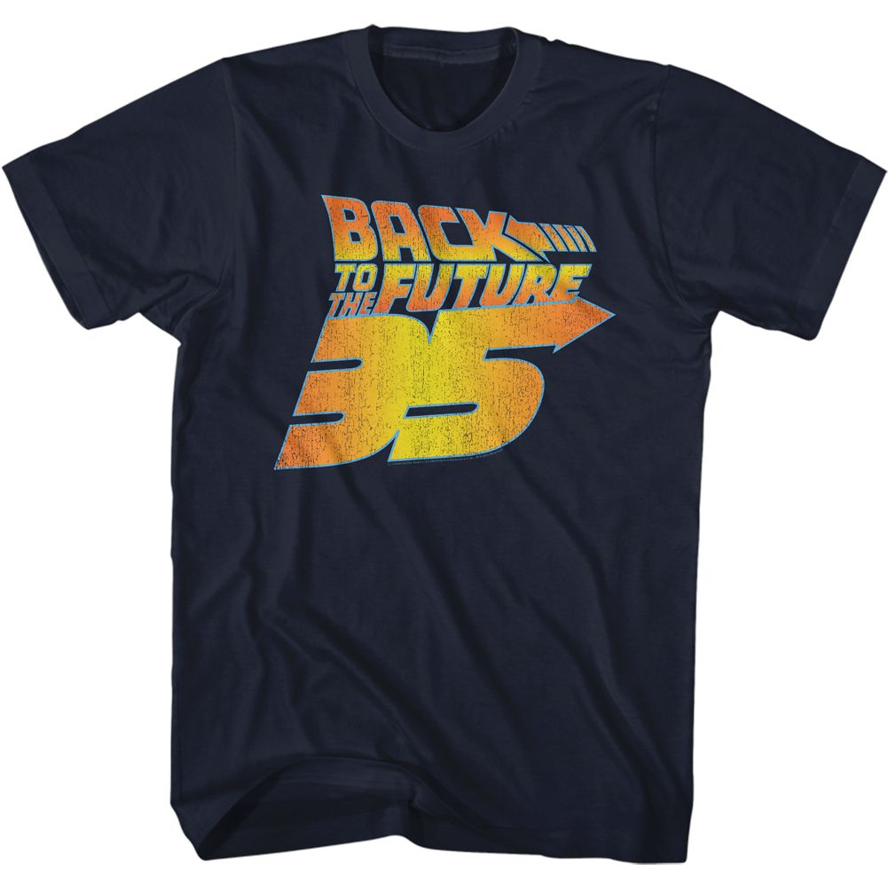 Back To The Future-Bttf 35Th Distressed-Navy Adult S/S Tshirt