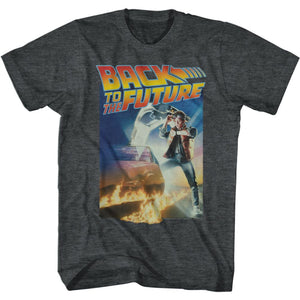 Back To The Future-Poster With A Gig Logo-Black Heather Adult S/S Tshirt