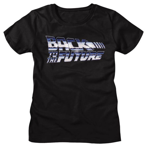 Back To The Future-Chrome To The Future-Black Ladies S/S Tshirt