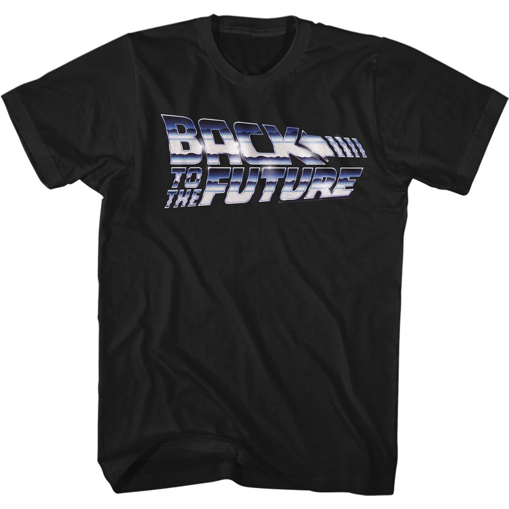 Back To The Future-Chrome To The Future-Black Adult S/S Tshirt