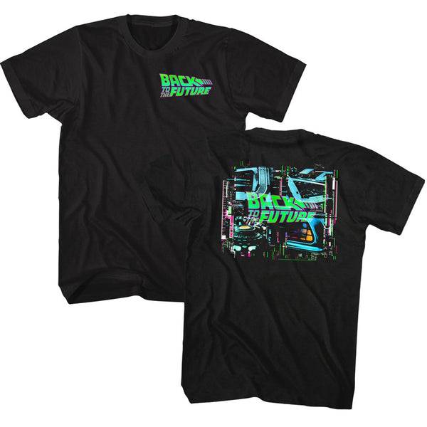 Back To The Future-Neon BTTF-Black Front-Back Print Adult S/S Tshirt