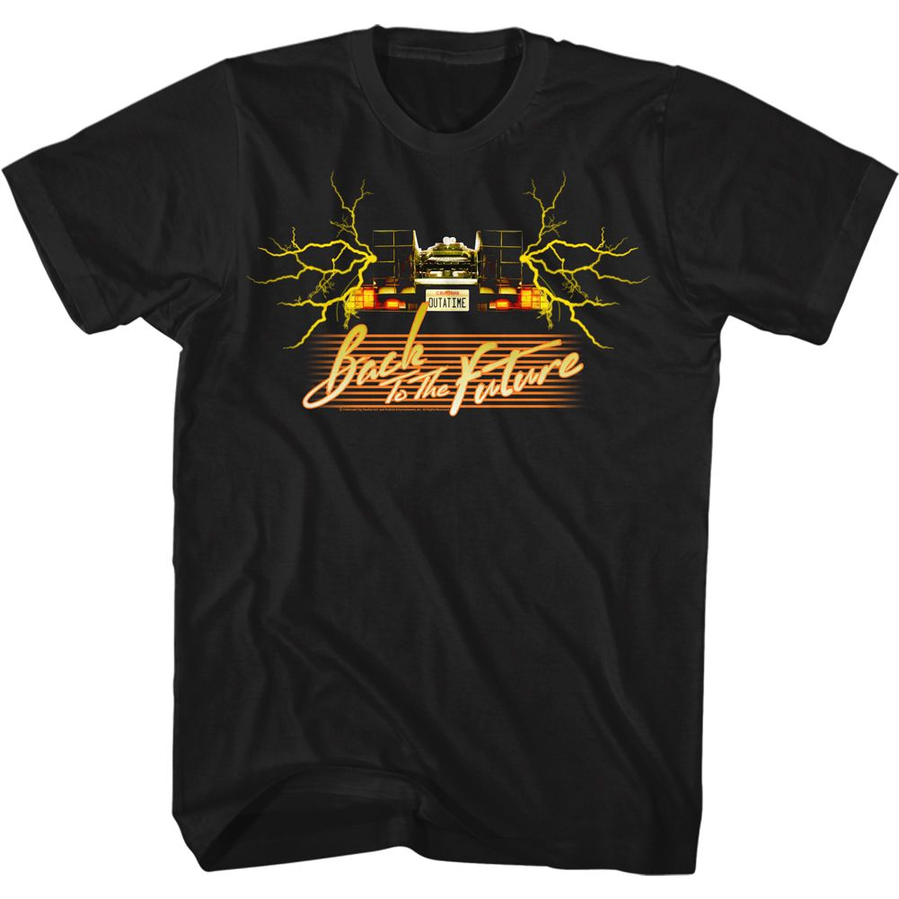 Back To The Future-Yellowcar-Black Adult S/S Tshirt