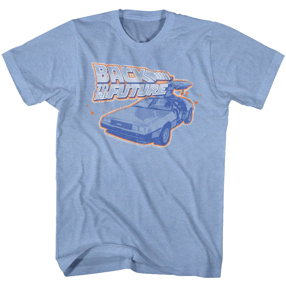 Back To The Future-Blue And Orange-Light Blue Heather Adult S/S Tshirt