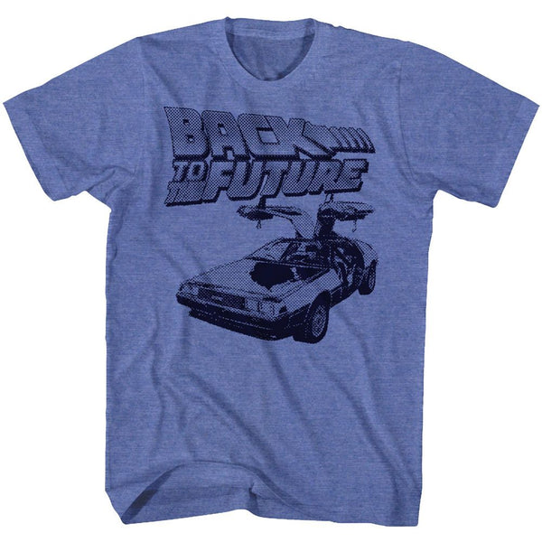 Back To The Future-BTF Halftone-Royal Heather Adult S/S Tshirt