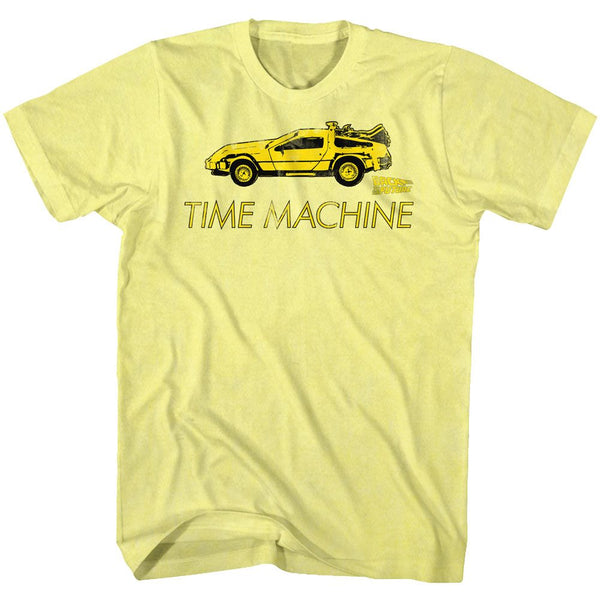 Back To The Future-Delorean-Yellow Heather Adult S/S Tshirt