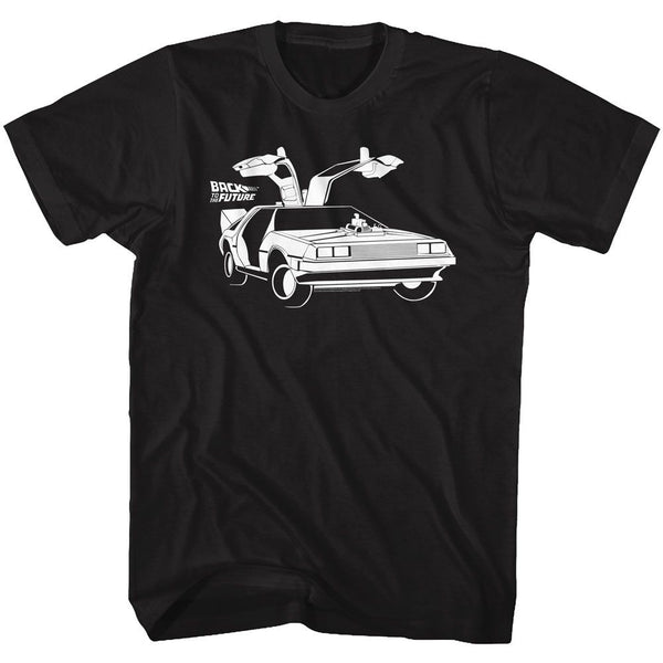 Back To The Future-Car-Black Adult S/S Tshirt