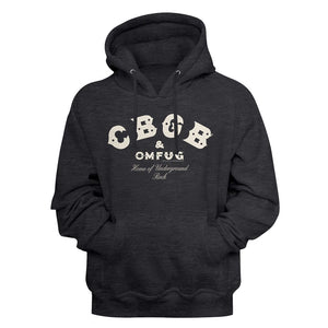 Cbgb-Logo-Charcoal Heather Adult L/S Pullover Hoodie