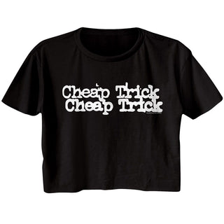 Cheap Trick-Double Logo-Black Ladies S/S Festival Cali Crop - Coastline Mall