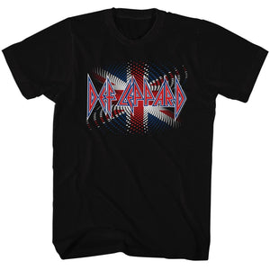 Def Leppard-British Flag Brit Ish-Black Adult S/S Tshirt