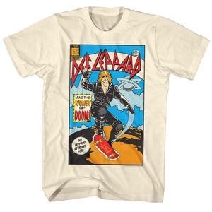 Def Leppard-Comic-Natural Adult S/S Tshirt