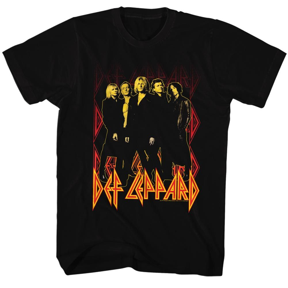 Def Leppard-Onfire-Black Adult S/S Tshirt