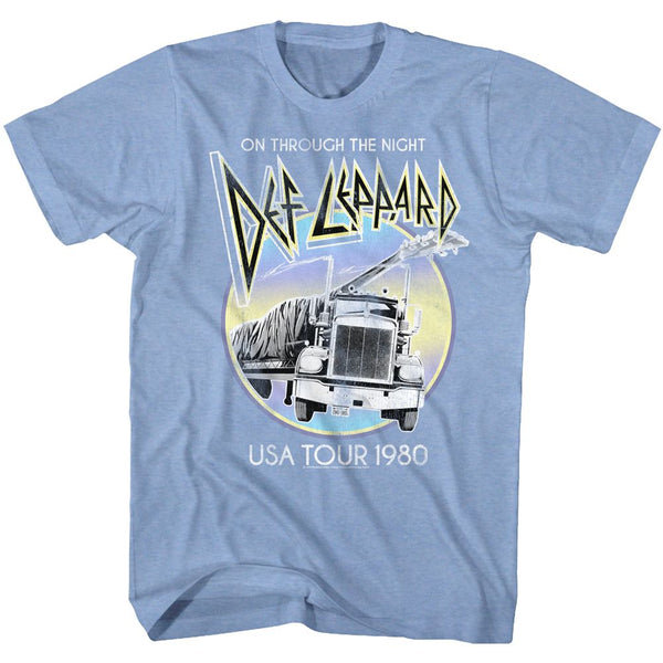 Def Leppard-Pastel Night-Light Blue Heather Adult S/S Tshirt - Clothing, Shoes & Accessories:Men's Clothing:T-Shirts - Coastline Mall