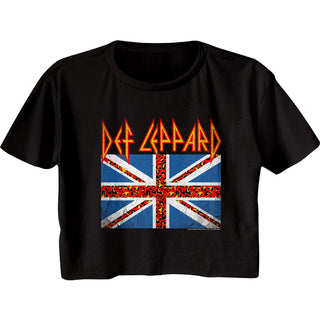 Def Leppard-Leopard Flag-Black Ladies S/S Festival Cali Crop - Coastline Mall