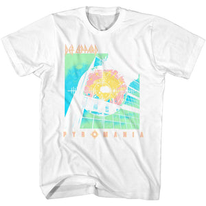 Def Leppard-Bright Color Pyromania-White Adult S/S Tshirt