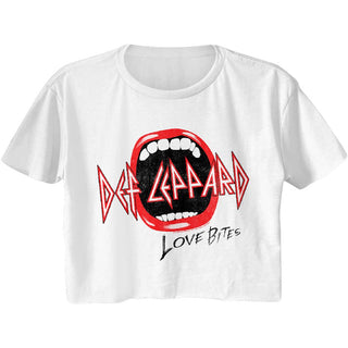 Def Leppard-Mouth-White Ladies S/S Festival Cali Crop - Coastline Mall