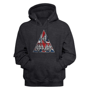 Def Leppard-Brit Logo-Charcoal Heather Adult L/S Pullover Hoodie