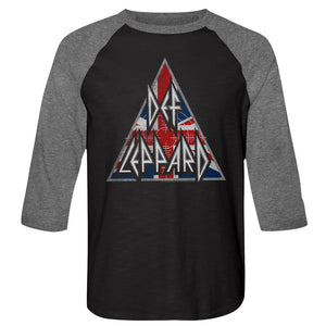 Def Leppard-Britlogo-Vintage Black/Premium Heather Adult 3/4 Sleeve Raglan