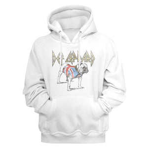 Def Leppard-Bulldog-White Adult L/S Pullover Hoodie