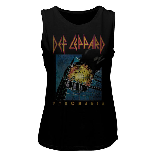 Def Leppard-Faded Pyromania-Black Ladies Muscle Tank - Coastline Mall