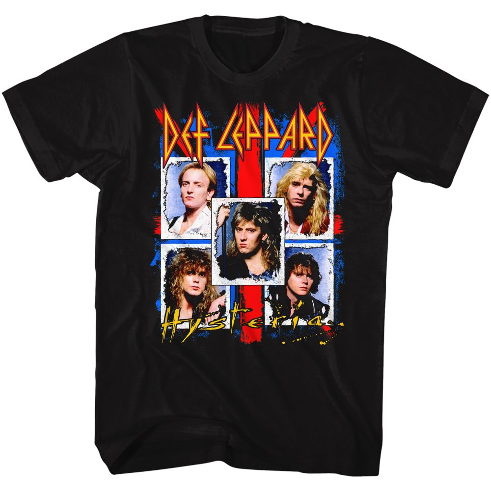 Def Leppard Hysteria Band Pic-Black Adult S/S Tshirt