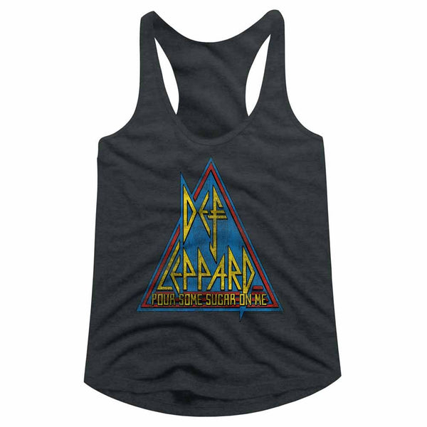 Def Leppard-Primary Triangle-Dark Gray Heather Ladies  Racerback