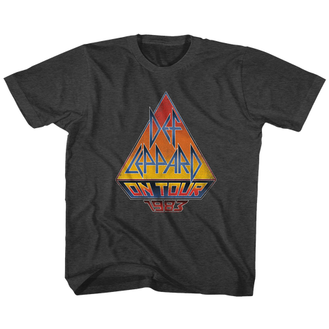 Def Leppard-On Tour 83-Black Heather Toddler Youth S/S Tshirt