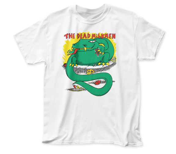 Dead Milkmen - Big Lizard In My Backyard Logo White Short Sleeve Soft Slim Fit Unisex Jersey T-Shirt tee - Coastline Mall