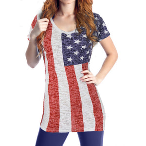 Woman's USA American Flag T-Shirt Burnout Fabric - Calhoun Sportswear