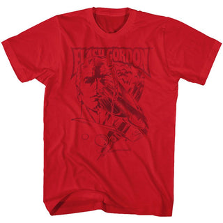 Flash Gordon-Print-Red Adult S/S Tshirt - Coastline Mall