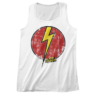 Flash Gordon-Flash Bolt-White Adult Tank - Coastline Mall