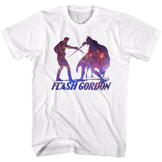 Flash Gordon-Silhouphite-White Adult S/S Tshirt - Coastline Mall