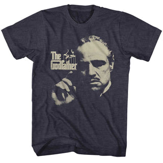 Godfather-Finger Waggle-Navy Heather Adult S/S Tshirt - Coastline Mall