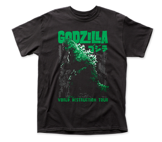 Godzilla - World Destruction Tour Logo Black Short Sleeve Adult Soft Slim Fit Unisex Jersey T-Shirt tee - Coastline Mall