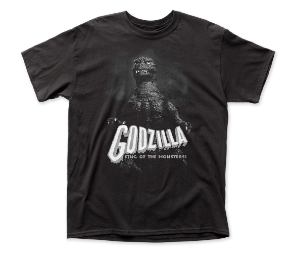 Godzilla - Black and White King of the Monsters Logo Black Short Sleeve Adult Soft Slim Fit Unisex Jersey T-Shirt tee - Coastline Mall